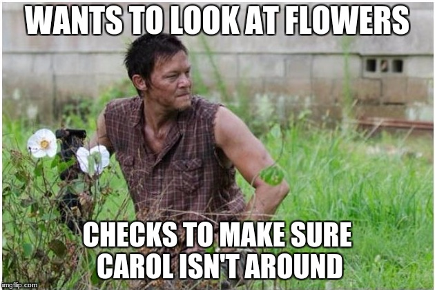 Only The Walking Dead fans will understand | WANTS TO LOOK AT FLOWERS CHECKS TO MAKE SURE CAROL ISN'T AROUND | image tagged in daryl dixon,daryl walking dead,memes,meme,the walking dead,twd meme | made w/ Imgflip meme maker