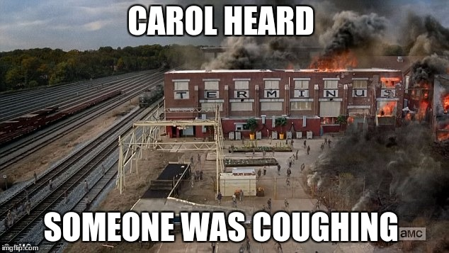 Only The Walking Dead fans will understand..... | CAROL HEARD SOMEONE WAS COUGHING | image tagged in carol twd,memes,meme,twd meme,the walking dead,terminus twd | made w/ Imgflip meme maker