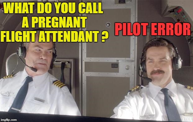 Pilot Humor | WHAT DO YOU CALL A PREGNANT FLIGHT ATTENDANT ? PILOT ERROR | image tagged in funny memes,airline pilots,airplanes,stewardess | made w/ Imgflip meme maker