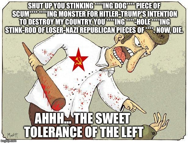 Ahh, the left, the tolerant left | SHUT UP YOU STINKING ****ING DOG**** PIECE OF SCUM**** ****ING MONSTER FOR HITLER-TRUMP'S INTENTION TO DESTROY MY COUNTRY, YOU ****ING ****- | image tagged in tolerance,leftists,politics,memes | made w/ Imgflip meme maker