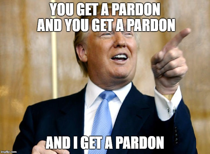 Donald Trump Pointing | YOU GET A PARDON AND YOU GET A PARDON AND I GET A PARDON | image tagged in donald trump pointing,pardon,malfeasance,trump,guilty,memes | made w/ Imgflip meme maker