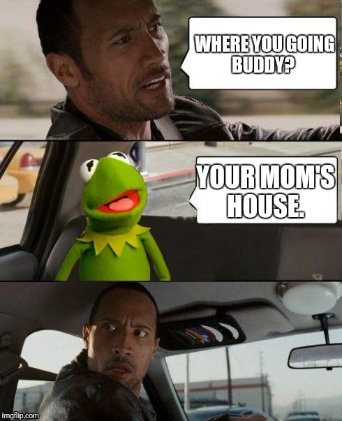 Kermit rocks | WHERE YOU GOING BUDDY? YOUR MOM'S HOUSE. | image tagged in kermit rocks | made w/ Imgflip meme maker