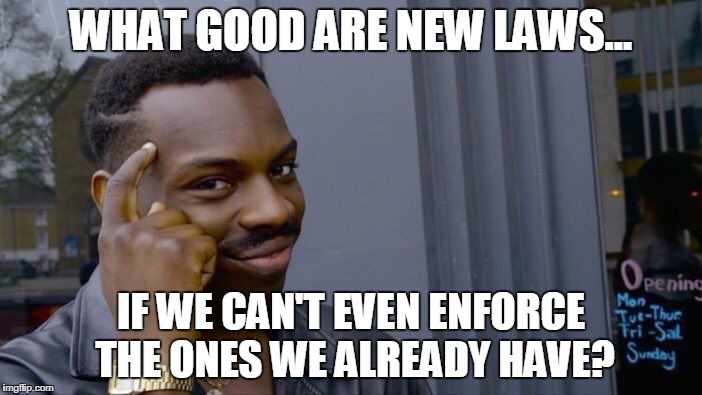 You Don't Say? | WHAT GOOD ARE NEW LAWS... IF WE CAN'T EVEN ENFORCE THE ONES WE ALREADY HAVE? | image tagged in memes,roll safe think about it,gun control,florida | made w/ Imgflip meme maker