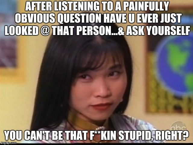 My face when I hear a stupid question... | AFTER LISTENING TO A PAINFULLY OBVIOUS QUESTION HAVE U EVER JUST LOOKED @ THAT PERSON...& ASK YOURSELF YOU CAN'T BE THAT F**KIN STUPID, RIGH | image tagged in stupid people,special kind of stupid,my face when someone asks a stupid question,memes,trini kwan | made w/ Imgflip meme maker
