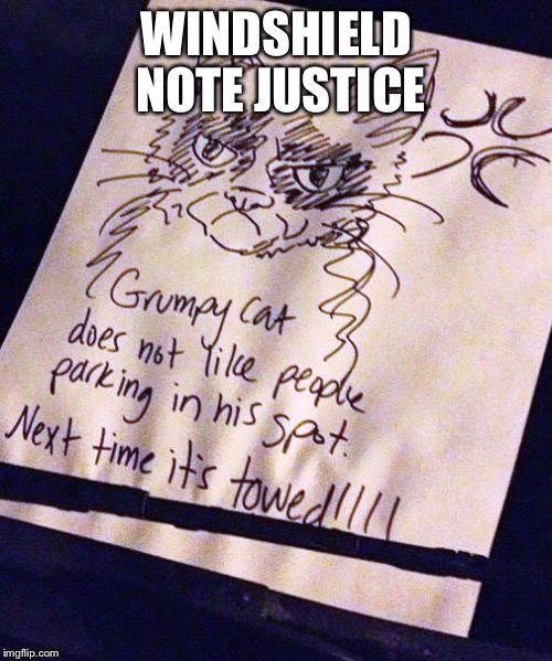 Grumpy Cat | WINDSHIELD NOTE JUSTICE | image tagged in memes,grumpy cat,windshield | made w/ Imgflip meme maker