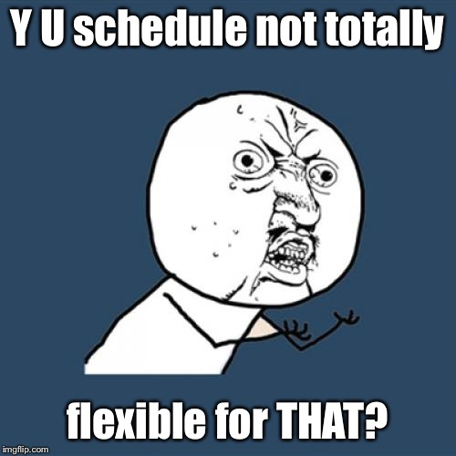 Y U No Meme | Y U schedule not totally flexible for THAT? | image tagged in memes,y u no | made w/ Imgflip meme maker