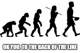 to the back of the line | OK YOU. TO THE BACK OF THE LINE | image tagged in evolution | made w/ Imgflip meme maker