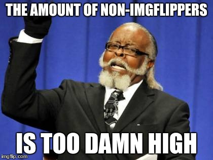 Non-Imgflippers | THE AMOUNT OF NON-IMGFLIPPERS IS TOO DAMN HIGH | image tagged in memes,too damn high | made w/ Imgflip meme maker