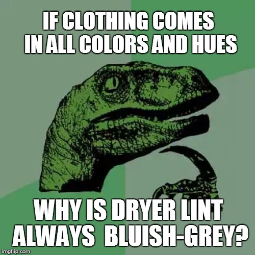 Today, today is laundry day... | IF CLOTHING COMES IN ALL COLORS AND HUES WHY IS DRYER LINT ALWAYS  BLUISH-GREY? | image tagged in funny | made w/ Imgflip meme maker