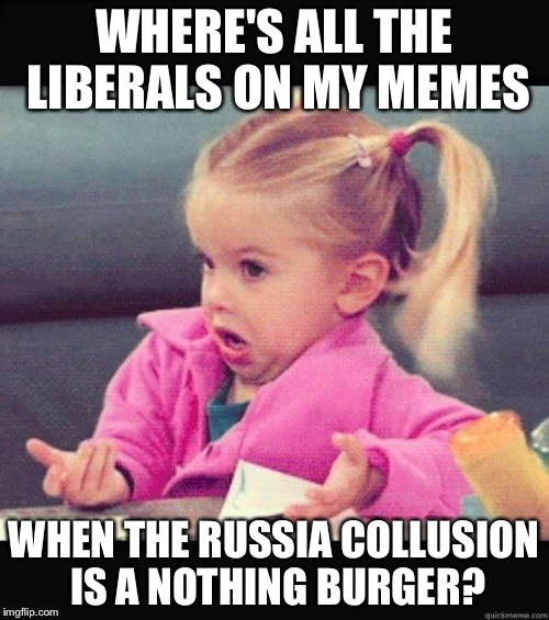 I don't know girl | WHERE'S ALL THE LIBERALS ON MY MEMES WHEN THE RUSSIA COLLUSION IS A NOTHING BURGER? | image tagged in i don't know girl | made w/ Imgflip meme maker