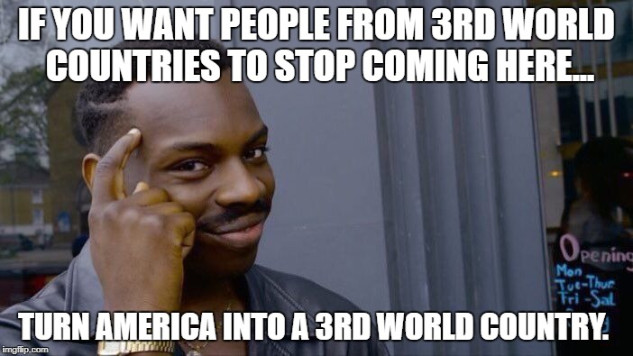 True story--Someone actually told me this. | IF YOU WANT PEOPLE FROM 3RD WORLD COUNTRIES TO STOP COMING HERE... TURN AMERICA INTO A 3RD WORLD COUNTRY. | image tagged in memes,roll safe think about it,political meme,funny memes,liberal logic | made w/ Imgflip meme maker