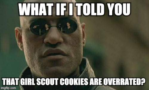 Matrix Morpheus Meme | WHAT IF I TOLD YOU THAT GIRL SCOUT COOKIES ARE OVERRATED? | image tagged in memes,matrix morpheus | made w/ Imgflip meme maker
