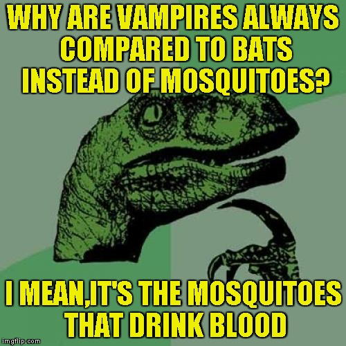 One thing I've always wondered as a kid | WHY ARE VAMPIRES ALWAYS COMPARED TO BATS INSTEAD OF MOSQUITOES? I MEAN,IT'S THE MOSQUITOES THAT DRINK BLOOD | image tagged in memes,philosoraptor,vampires,bats,mosquitoes,powermetalhead | made w/ Imgflip meme maker