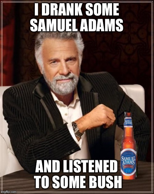 I DRANK SOME SAMUEL ADAMS AND LISTENED TO SOME BUSH | made w/ Imgflip meme maker