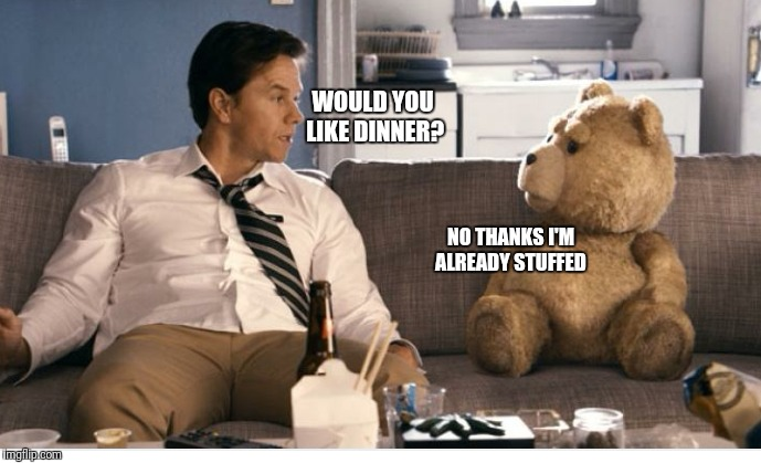 WOULD YOU LIKE DINNER? NO THANKS I'M ALREADY STUFFED | image tagged in funny,memes,ted,mark wahlberg | made w/ Imgflip meme maker