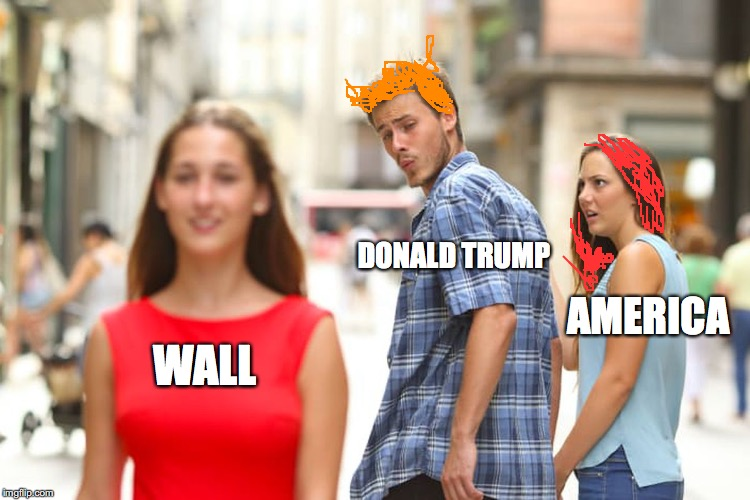 Distracted Boyfriend Meme | WALL DONALD TRUMP AMERICA | image tagged in memes,distracted boyfriend | made w/ Imgflip meme maker