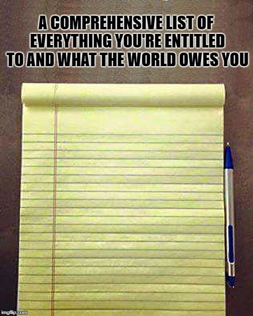 a comprehensive list of everything you're entitled to and what the world owes you | A COMPREHENSIVE LIST OF EVERYTHING YOU'RE ENTITLED TO AND WHAT THE WORLD OWES YOU | image tagged in notepad | made w/ Imgflip meme maker