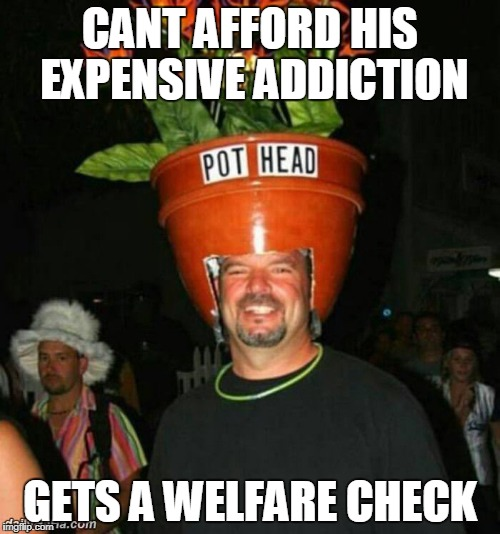 pothead |  CANT AFFORD HIS EXPENSIVE ADDICTION; GETS A WELFARE CHECK | image tagged in pothead,idiot,drugs,welfare,funny memes,smoke weed everyday | made w/ Imgflip meme maker