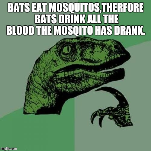 Philosoraptor Meme | BATS EAT MOSQUITOS,THERFORE BATS DRINK ALL THE BLOOD THE MOSQITO HAS DRANK. | image tagged in memes,philosoraptor | made w/ Imgflip meme maker
