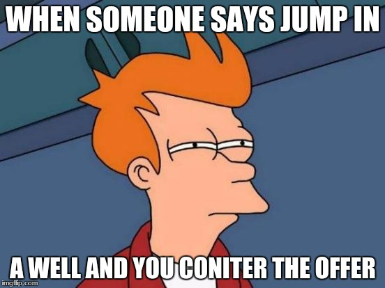 Futurama Fry | WHEN SOMEONE SAYS JUMP IN A WELL AND YOU CONITER THE OFFER | image tagged in memes,futurama fry | made w/ Imgflip meme maker