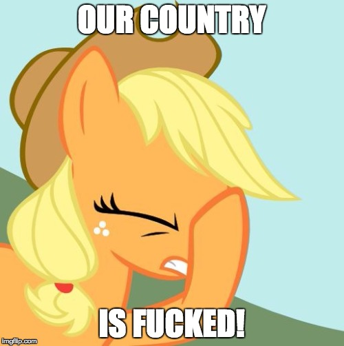 AJ face hoof | OUR COUNTRY IS F**KED! | image tagged in aj face hoof | made w/ Imgflip meme maker
