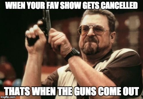 Am I The Only One Around Here | WHEN YOUR FAV SHOW GETS CANCELLED THATS WHEN THE GUNS COME OUT | image tagged in memes,am i the only one around here | made w/ Imgflip meme maker