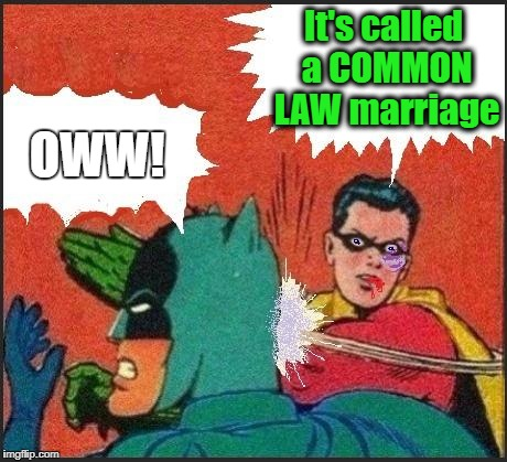 Robin slaps | It's called a COMMON LAW marriage OWW! | image tagged in robin slaps | made w/ Imgflip meme maker