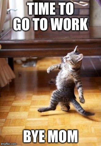 Cool Cat Stroll Meme | TIME TO GO TO WORK BYE MOM | image tagged in memes,cool cat stroll | made w/ Imgflip meme maker