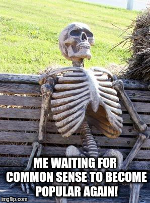Waiting Skeleton Meme | ME WAITING FOR COMMON SENSE TO BECOME POPULAR AGAIN! | image tagged in memes,waiting skeleton | made w/ Imgflip meme maker