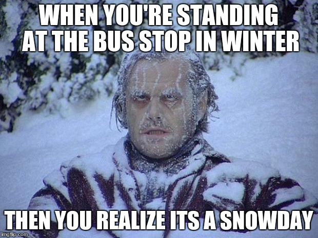 Jack Nicholson The Shining Snow Meme | WHEN YOU'RE STANDING AT THE BUS STOP IN WINTER THEN YOU REALIZE ITS A SNOWDAY | image tagged in memes,jack nicholson the shining snow | made w/ Imgflip meme maker