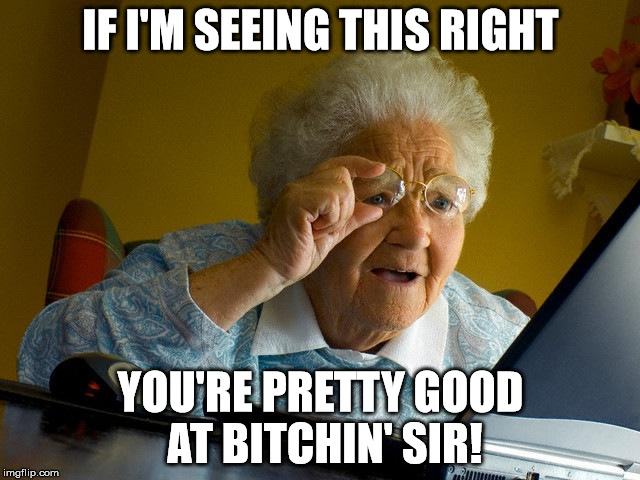Grandma Finds The Internet Meme | IF I'M SEEING THIS RIGHT YOU'RE PRETTY GOOD AT B**CHIN' SIR! | image tagged in memes,grandma finds the internet | made w/ Imgflip meme maker