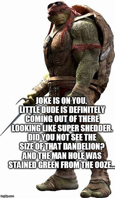 JOKE IS ON YOU. LITTLE DUDE IS DEFINITELY COMING OUT OF THERE LOOKING LIKE SUPER SHEDDER. DID YOU NOT SEE THE SIZE OF THAT DANDELION? AND TH | made w/ Imgflip meme maker