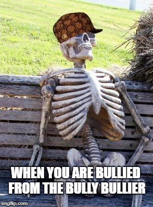 Waiting Skeleton Meme | WHEN YOU ARE BULLIED FROM THE BULLY BULLIER | image tagged in memes,waiting skeleton,scumbag | made w/ Imgflip meme maker