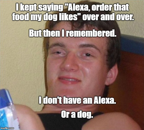 "Or money. | I kept saying ""Alexa, order that food my dog likes"" over and over. Or a dog. I don't have an Alexa. But then I remembered. 