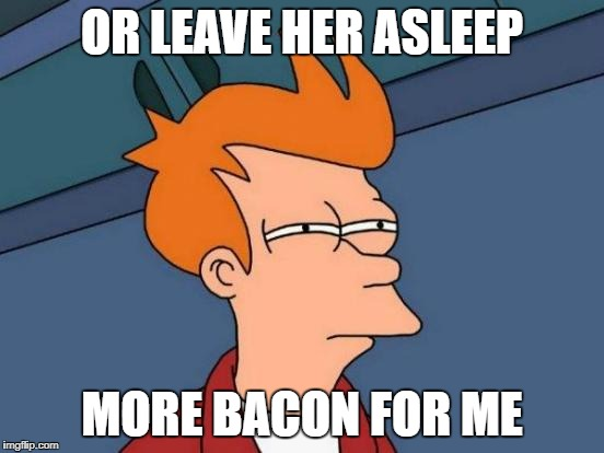 Futurama Fry Meme | OR LEAVE HER ASLEEP MORE BACON FOR ME | image tagged in memes,futurama fry | made w/ Imgflip meme maker