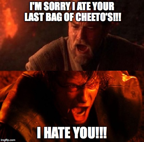 anakin and obi wan | I'M SORRY I ATE YOUR LAST BAG OF CHEETO'S!!! I HATE YOU!!! | image tagged in anakin and obi wan | made w/ Imgflip meme maker