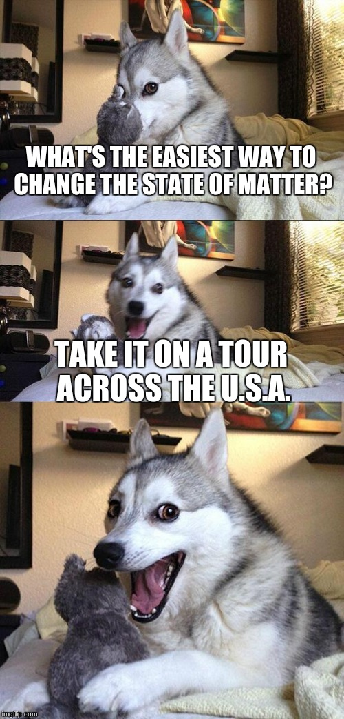 Bad Pun Dog Meme | WHAT'S THE EASIEST WAY TO CHANGE THE STATE OF MATTER? TAKE IT ON A TOUR ACROSS THE U.S.A. | image tagged in memes,bad pun dog | made w/ Imgflip meme maker