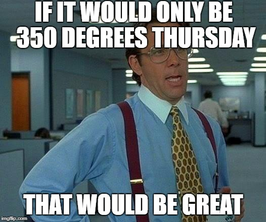 That Would Be Great Meme | IF IT WOULD ONLY BE 350 DEGREES THURSDAY THAT WOULD BE GREAT | image tagged in memes,that would be great | made w/ Imgflip meme maker