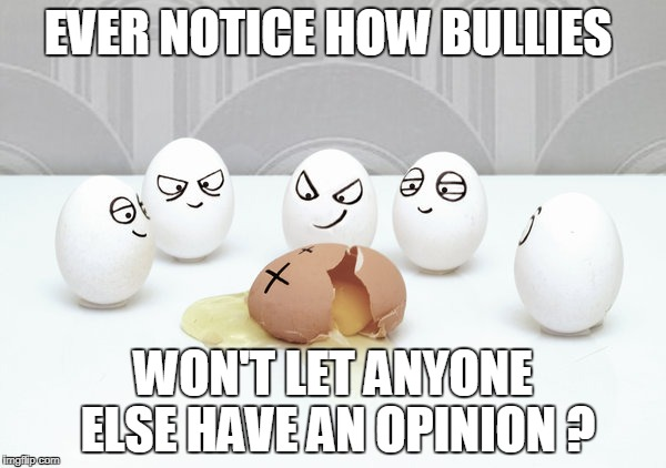 EVER NOTICE HOW BULLIES WON'T LET ANYONE ELSE HAVE AN OPINION ? | image tagged in bullying | made w/ Imgflip meme maker