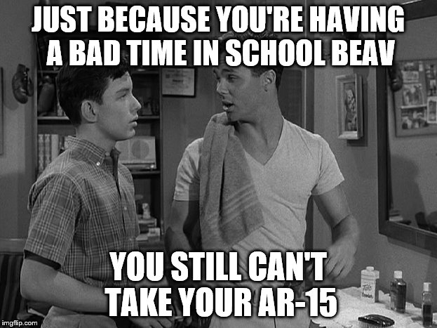 The ar-15 has remained relatively unchanged since 1963. Maybe we need to be looking elsewhere to resolve this.  | JUST BECAUSE YOU'RE HAVING A BAD TIME IN SCHOOL BEAV YOU STILL CAN'T TAKE YOUR AR-15 | image tagged in memes,not funny memes,leave it to beaver,beaver and wally,ar-15 | made w/ Imgflip meme maker