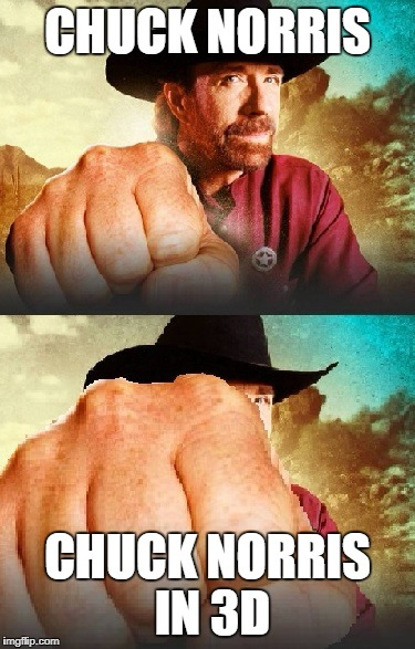 Chuck Norris 3D | CHUCK NORRIS CHUCK NORRIS IN 3D | image tagged in chuck norris,3d,memes | made w/ Imgflip meme maker