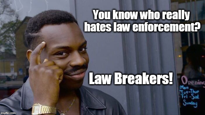 Roll Safe Think About It Meme | You know who really hates law enforcement? Law Breakers! | image tagged in memes,roll safe think about it,police,black lives matter | made w/ Imgflip meme maker