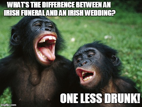They Love To Party! | WHAT'S THE DIFFERENCE BETWEEN AN IRISH FUNERAL AND AN IRISH WEDDING? ONE LESS DRUNK! | image tagged in irish,drinking,fun | made w/ Imgflip meme maker