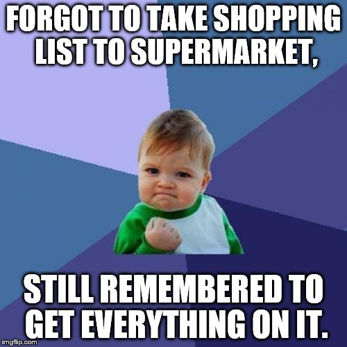 Success Kid Meme | FORGOT TO TAKE SHOPPING LIST TO SUPERMARKET, STILL REMEMBERED TO GET EVERYTHING ON IT. | image tagged in memes,success kid | made w/ Imgflip meme maker