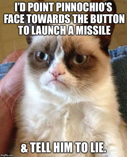 What do you mean Fairy Tale Week is over? | I'D POINT PINNOCHIO'S FACE TOWARDS THE BUTTON TO LAUNCH A MISSILE & TELL HIM TO LIE. | image tagged in memes,grumpy cat,fairy tale week,pinnochio | made w/ Imgflip meme maker