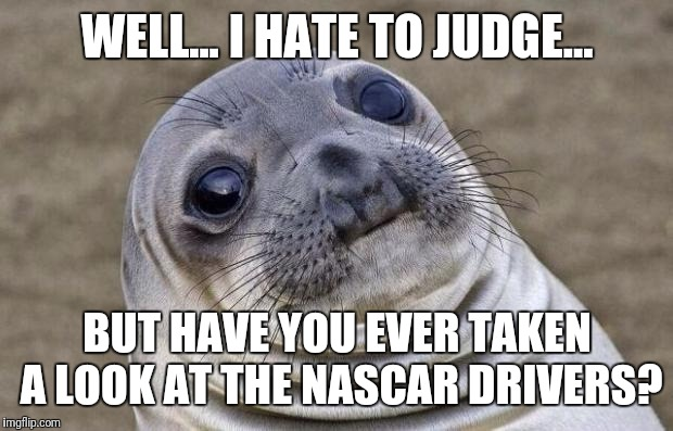 Awkward Moment Sealion Meme | WELL... I HATE TO JUDGE... BUT HAVE YOU EVER TAKEN A LOOK AT THE NASCAR DRIVERS? | image tagged in memes,awkward moment sealion | made w/ Imgflip meme maker