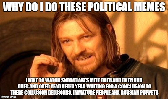 a conclusion to there collusion delusions | WHY DO I DO THESE POLITICAL MEMES I LOVE TO WATCH SNOWFLAKES MELT OVER AND OVER AND OVER AND OVER YEAR AFTER YEAR WAITING FOR A CONCLUSION T | image tagged in memes,one does not simply,political meme,snowflakes | made w/ Imgflip meme maker