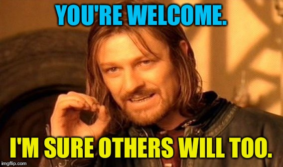 One Does Not Simply Meme | YOU'RE WELCOME. I'M SURE OTHERS WILL TOO. | image tagged in memes,one does not simply | made w/ Imgflip meme maker
