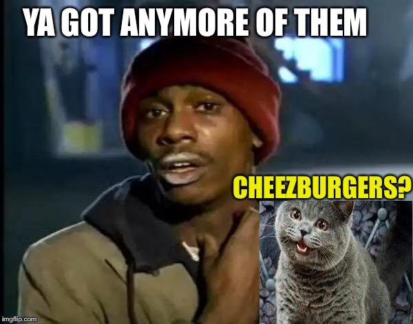 Y'all Got Any More Of That Meme | YA GOT ANYMORE OF THEM CHEEZBURGERS? | image tagged in memes,y'all got any more of that | made w/ Imgflip meme maker