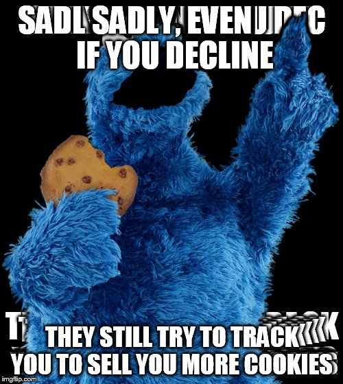 SADLY, EVEN IF YOU DECLINE THEY STILL TRY TO TRACK YOU TO SELL YOU MORE COOKIES | made w/ Imgflip meme maker